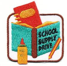 Girl Boy Cub SCHOOL SUPPLY DRIVE donation Fun Patches Crests Badges SCOUT GUIDE