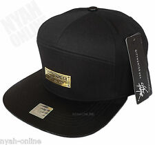 NEW 7 PANEL SNAPBACK CAP *BLACK* PLAIN BASEBALL STRAPBACK FITTED FLAT PEAK HAT