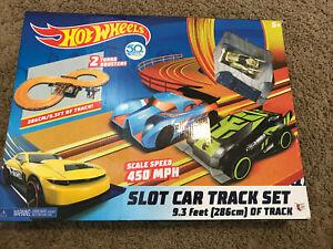 HOT WHEELS Slot Car Track Set 9.3ft, 2 Turbo Boosters, 450 MPH 2018 50th Anniv
