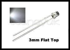 50 White 3mm Flat Top LEDs Free Resistors