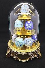 House of Faberge Sapphire Garden 3-Tier Display 8 Eggs Domed Glass Franklin Mint