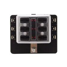 Universal 6-Way Blade Fuse Holder Box With Spade Fuses LED Indicator