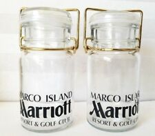 Set of 2 Marco Island Marriott Resort & Golf Club Airtight Glass Jar Lid Wired