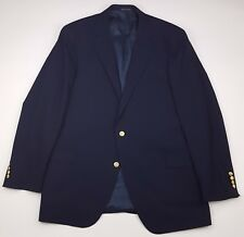 Lands End Blue Blazer 46L Navy Gold Tone Metal Buttons Wool Mens Size Vented Man