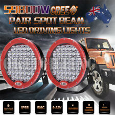 9inch 59800W LED Driving Cree Lights SPOT Off Road Red Work Spotlights Round ATV