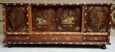 Antique Asian Chinese Marquetry Boulle inlaid Chest Trunk Caddy Case Box mop