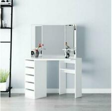 Modern Corner Dressing Table Makeup Desk w/ 5 Drawers & 3 Large Mirror White