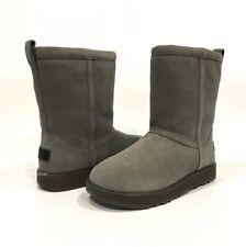 UGG CLASSIC SHORT WATERPROOF BOOTS METAL GRAY SUEDE / SHEEPSKIN -WOMEN US 8 -NEW