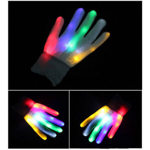 Fun Multi-Colour Electro LED Flashing Gloves Light Up Halloween Dance Party L99