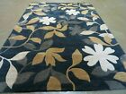 5' X 8' Abstract Modern  Hand Tufted Wool Rug  Floral Flowers Nice Black