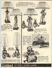 1957 PAPER AD Blackmoor Matching Lamp Set Nubian Panther Colt Ash Trays