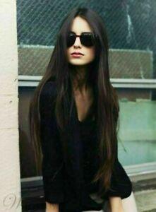100% Human Hair New Fashion Glamour Long Dark Brown Straight Women's Full Wigs