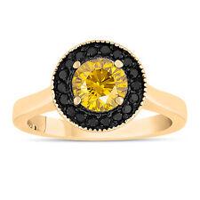 Enhanced Fancy Yellow Diamond Engagement Ring 14K Yellow Gold 1.00 Carat