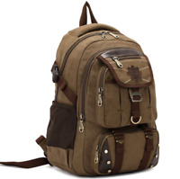 New Men Canvas School Backpack Laptop Satchel Travel Camping Bag Rucksack