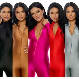 Shiny Long Sleeve Jumpsuit Front Zipper Closure Mock Neck Catsuit Costume 119404
