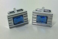 LARGE SILVER OBLONG CUFFLINKS / FACETED BLUE CRYSTAL STONE / VINTAGE STYLE