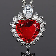 Lady Fashion Jewelry **Heart Cut Red Ruby Pendant Necklace Jewellery Chain