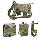 Tactical Dog Harness K9 Training Molle Combat Train Vest Adjustable Handle Pouch
