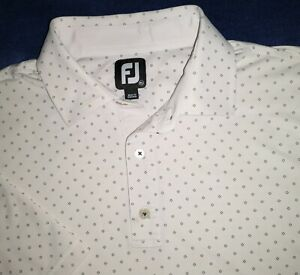 FootJoy ProDry Lisle Golf Polo Shirt Mens XL Poly Spandex White Print