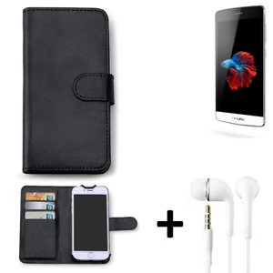 Protective cover f TP-LINK Neffos C5 + earphones Wallet Case protection flipcove