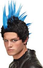 Morris Costumes Men's Colors Punk Rocker Mohawk Spike Rock On Blue Wig. MR178003