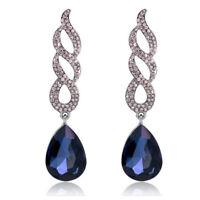 Black Tone Navy Dark Blue Queen Curly Luxury Party Long Drop Stud Earrings E1299
