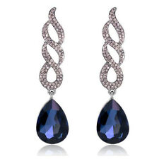 Black Tone Navy Dark Blue Queen Curly Luxury Party Long Drop Stud Earrings E1299