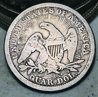 1853 Seated Liberty Quarter 25C RAYS & ARROWS Higher Grade US Silver Coin CC6843