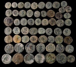 Roman period, 59  coins uncleaned lot