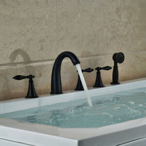 Oil Rubbed Bronze Deck Mount Roman Bathroom Tub Faucet W/ Hand Shower Mixer Tap