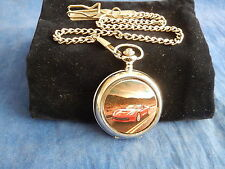 CORVETTE STINGRAY RED CHROME POCKET WATCH WITH CHAIN (NEW)  (1)
