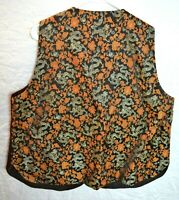 Mens Suit Vest 46 Chinese Vintage Silk Brown Gold Silver Brocade Orient Dragon
