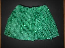 NWOT Kelly Green Faux Sequin elastic waist costume short skirt petite adult