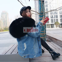Real Raccoon Fur Collar&lining Hooded Womens Jacket Parka Coat Denim Removable