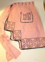 Vintage Cotton Waist Apron Pink White Gingham w Black Embroidery & Ric Rac