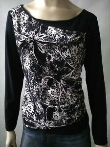 GEOFF BADE ladies size 12 top black and white stretch long sleeve designer