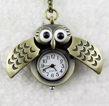BRONZE OWL SHAPE QUARTZ POCKET WATCH WITH PENDANT NECKLACE CHAIN