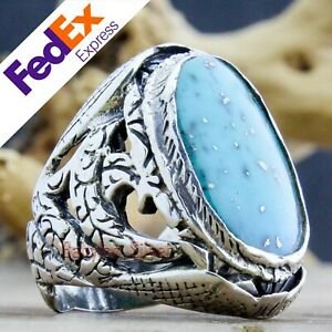 925 Sterling Silver Turkish Handmade Turquoise Stone Men's Ring