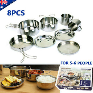 8pcs Stainless Steel Camping Cookware Outdoor Picnic Pot Cook Pan Set Hiking BBQ