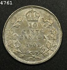 """1902-H *Silver* Canada 10 Cent """"AU++"""" *Free S/H After 1st Item*"""