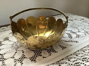 Solid brass bowl with handle from India