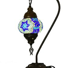 Turkish Moroccan Mosaic Colorful Swan Table Bedside Mood Lamp Lampshade, Blue Cl