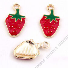 10x Gold Plated Small Pendants Strawberry Fruit Pendant Charm Jewelry Making 977