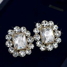 18k yellow gold gp made with SWAROVSKI crystal earrings earclip