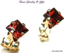 Natural Deep Red Garnet Princess Cut Earrings Solid 10k Yellow Gold Solitaire