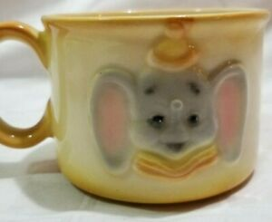 Rare HTF Yellow Glazed Ceramic Cup EARLY DUMBO CHILDS MUG Cute Elephant 1940s D5