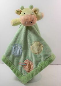 Carters Just One Year Green Giraffe Rattle Lovey Security Blanket I Love Mommy