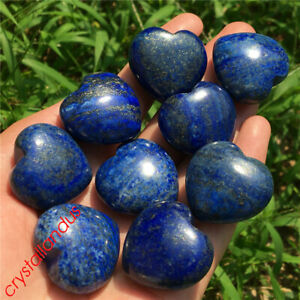 10pcs natual Lapis lazuli Quartz pendant heart Crystal hand carved healing 30mm