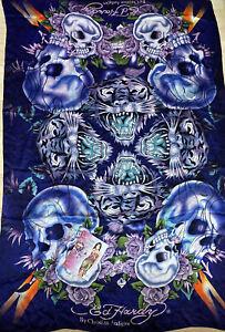 Ed Hardy Christian Audigier Mirrored Tiger Black Silk Scarf Wrap W/booklet