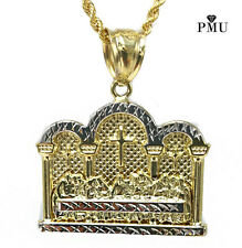 "Last Supper 10k Yellow Gold Pendant with 24"" 10k Gold Rope Chain Set"